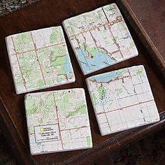 National Geographic ''My Town'' #Map #Coasters - Set of 4 includes 9 sq. miles around your home with major streets and landmarks highlighted. Very cool!