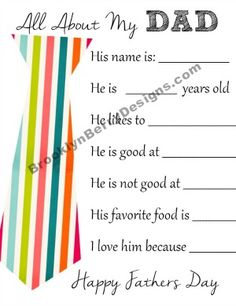 All About My Dad - free fathers day printable questionaire for an easy gift idea.