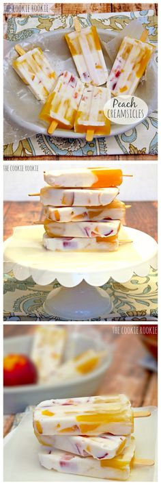 HEALTHY Peach Creamsicles are the perfect summer treat for kids or adults! Made with greek yogurt! - The Cookie Rookie