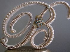 "Monogrammed Custom Vintage Pearl Wedding Cake Topper & Display: Antique Bridal Accessories ""417 Bride"""