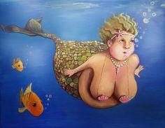 "Fran Mermaid bbw art print on watercolor paper 8""x10"". $17.00 USD, via Etsy."