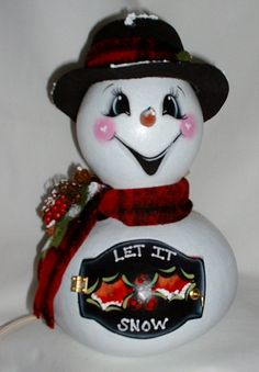 Light-Up Gourd Snowman - Hand Painted Gourd on Etsy, $40.00