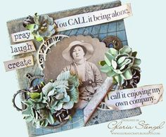 Scraps of Life: You call it being alone, I call it enjoying my own company.  Pray, Laugh, Create - vintage canvas with 7gypsies Gypsy Moments, Maritime, gears, Glimmer Mist (Atlantic) and High Impact Paint (white) #4x4challenge #gypsymoments #tatteredangels #highimpact #glimmermist #canvascorpbrandscrew