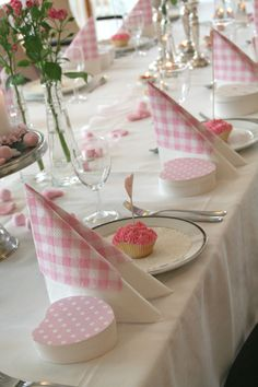 Pink and White, Hearts and pink cupcakes, this site has lots of pictures of this tablescape.