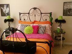 Black orange pink and green