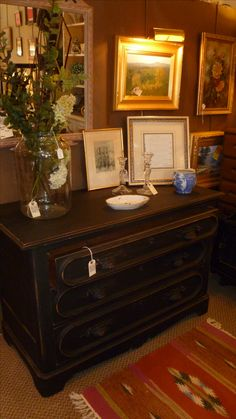 Vintage dresser painted with chalkboard paint. Repurpose old pieces in new ways!