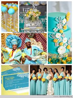 Wedding Color Schemes | nigerian wedding mint blue and yellow wedding color scheme 2