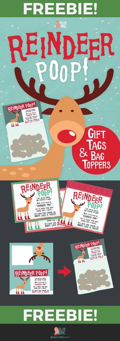 FREEBIE for the holidays! Give the gift of candy with a fun spin! Download your free tags and bag toppers now! | glueandink.com // #teacherspayteachers #holidayprintable #elementary #printable #glueandink #reindeerpoop #holiday
