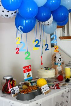balloons with numbers hanging over the dessert table  Puppy + Kitten themed birthday party via Kara's Party Ideas KarasPartyIdeas.com Cake, decor, tutorials, favors, cupcakes, games, etc! #puppy...