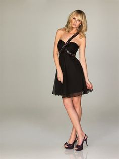 Cost-efficient Sweetheart Sequin One Strap Chiffon Column Black Little Dress