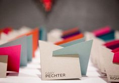 neon geometric place cards