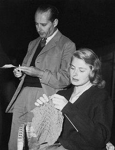 Ingrid Bergman, knitting.