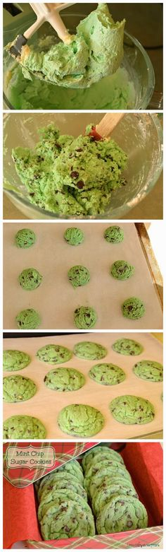 Mint Chip Sugar Cookies!! They should be called Grinch Cookies!