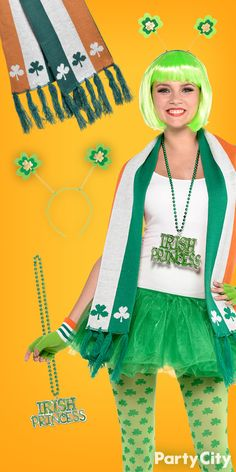 Party City has you covered for St. Patrick's Day must-haves for a kissably cute outfit! Mix 'n Match all these accessories and you'll be set for you party, parade or bar crawl. 1. Light-up Shamrock Boppers Headband 2. Green Wig 3. Fluffy Green Tutu 4. Shamrock Leggings 5. Gloves 6. Irish Princess Beads 7. Irish Flag Scarf Put on some cute heels and you'll be ready to party in style!