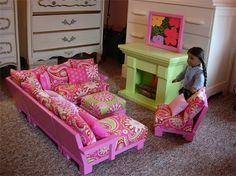 American Girl furniture, lots of ideas here to DIY