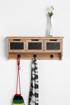 Reclaimed Wood Chalkboard Hanging Storage Shelf