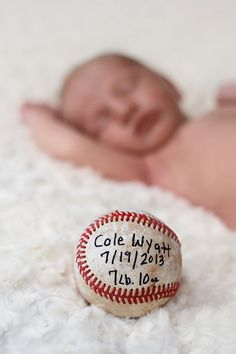 Baseball Birth Announcement Portfolio: Newborns & Babies - A Thousand Words Photography