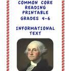 Common Core Reading Informational Text about George Washington: Grade 4-6 Printable http://www.teacherspayteachers.com/Product/Common-Core-Reading-Informational-Text-Grade-4-6-Printable #freebie #commoncore #ushistory #presidents