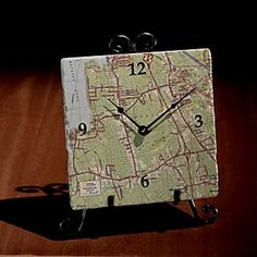 map clock (personalized with your town) $59
