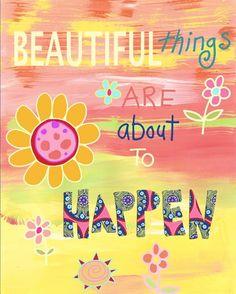 Beautiful Things Happy Inspirational Girl Art Print by Beth Nadler