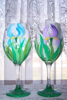 Iris Wine Glasses Hand Painted Set of Two by BonnysBoutique, $24.00