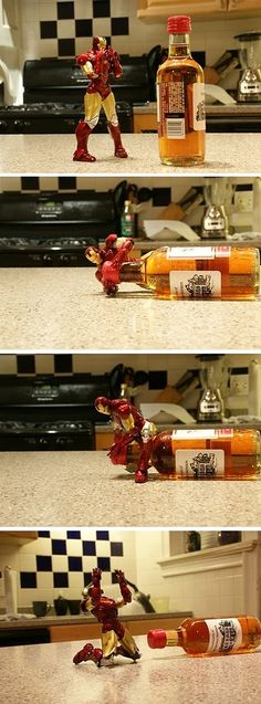 Correct way to play with your Iron Man toys…LOL