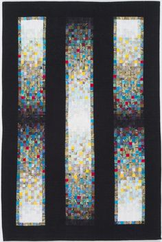 """Steel Band Mosaic quilt, 39 x 26"""", by Beatrice Gilbert. Hundreds of fine cotton mosaic pieces, surrounded by silk.  Machine pieced."""