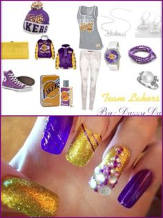 LA Lakers outfit, shoes, nails & accessories..
