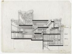Paul Rudolph's penthouse apartment, 23 Beekman Place, New York City. Perspective section. Rendering | Paul Rudolph