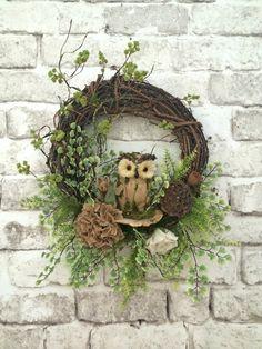 Owl Fall Wreath for Door, Owl Wreath, Burlap Wreath, Front Door Wreath, Outdoor Wreath, Grapevine Wreath, Silk Floral Wreath,Fall Decor,Etsy