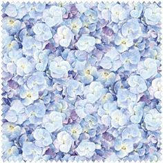 Elizabeth's Studio Teacups and Roses by Carol Wilson ELS 3608 Blue Tonal Pansies $8.99/yd