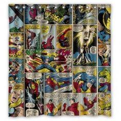 Retro marvel comics superhero fabric new 100 cotton quilting sewing captain america wolverine - Marvel superhero bathroom accessories ...