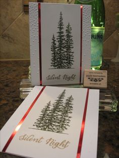 """Stampin' UP! products only. Card made at my Christmas Card Class this week. My inspiration came from """"stamp-a-latte""""; I made changes to the card stock, foil colors & inks. Products used: Wonderland Stamp Set, Softly Falling Embossing Folder, Gold Embossing Powder, Red Foil Sheets."""