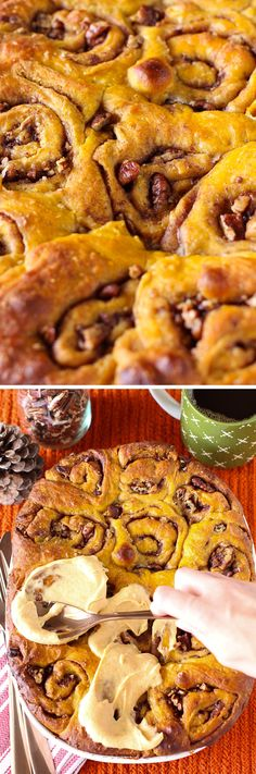 Pumpkin Maple Pecan Rolls with Pumpkin Cream Cheese Icing! Oh, you ...
