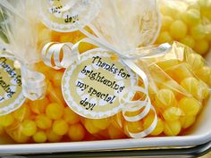 a simple party favor that represents the sunshine theme