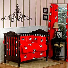 @Overstock - Decorate your baby's room with this 7-piece Georgia Bulldogs crib bedding set. This set includes a quilt, two valances, skirt, two crib sheets, bumper pad.http://www.overstock.com/Baby/Georgia-Bulldogs-7-piece-Crib-Bedding-Set/6412806/product.html?CID=214117 $87.09