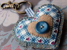 Blue Wool Felt Heart Key Ring Bag Charm