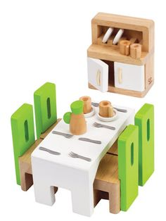 Wooden Dollhouse Dining Room Furniture