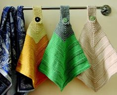 knitted cloths - love this idea to hang on the stove.