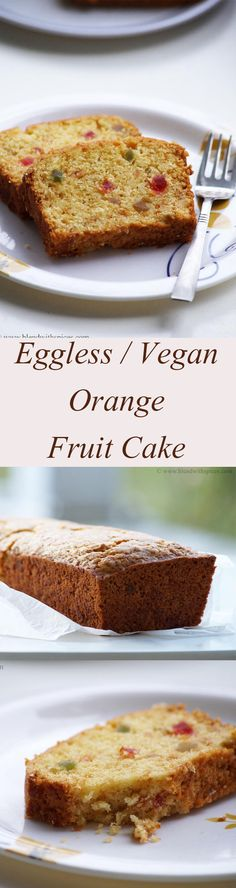 Eggless / Vegan Orange Fruit Cake Recipe with step by step recipe. blendwithspices.com