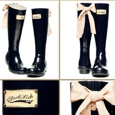 I really want some cute rain boots! I'm a fan of the ones that have a bow on the back!