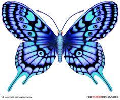 blue tattoo | 60 Butterfly Tattoos | Feminine And Tribal Butterfly Tattoo Designs