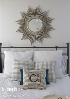 Military wife Chelsea of the blog Making Home Base used our Kenroy Home Reyes mirror above her bed. Her blog is full of design advice for renter, check it out: http://www.makinghomebase.com/master-bedroom-progress/