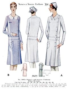 Vintage Nurses Uniform patterns.
