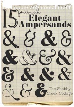 The Shabby Creek Cottage | Decorating | Craft Ideas | DIY: 15 fonts with elegant ampersands
