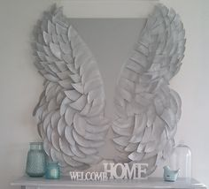 Angel wing canvas for your home mantel! This is gorgeous!