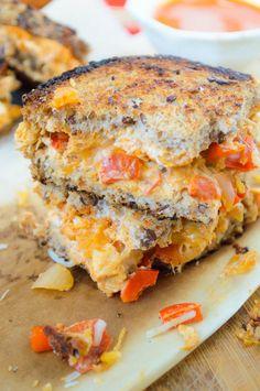 Creamy Chicken Enchilada Grilled Cheese Sandwich - The Nutritious Kitchen