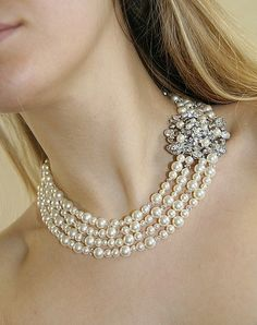 Wedding necklace, vintage style crystal pearl brooch bridal necklace -Stephanie collection
