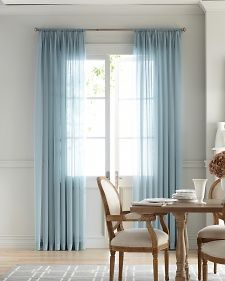 #WindowTreatments: Sheer panels in a dining room brings a presence of color and softly filtered light. #MarthaWindow #JCPenney #redecorate