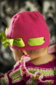 Fleece hat with ribbon.  Cute!